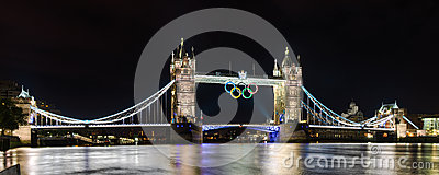 Tower Bridge in London, UK with the Olympic rings Editorial Image