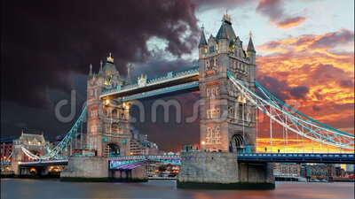 Tower Bridge in London, UK, time lapse.