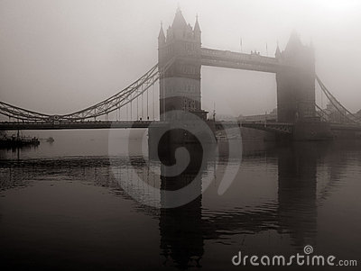 Tower Bridge in mist, London, UK