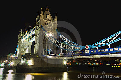 Tower Bridge at night: aside perspective, London