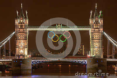 Tower Bridge at night with Olympic Rings Editorial Stock Image
