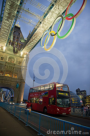 Tower Bridge at night with Olympic rings in London Editorial Photo
