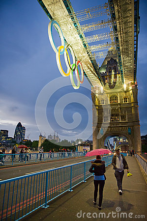 Tower Bridge at night with Olympic rings in London Editorial Stock Image