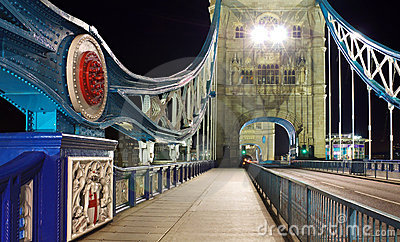 Tower Bridge at night: wide perspective, London