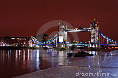 Tower Bridge from the north bank at night Editorial Stock Photo