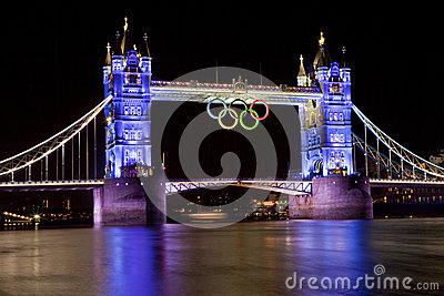 Tower Bridge and Olympic Rings Editorial Photo