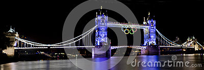 Tower Bridge and Olympic Rings Editorial Stock Image