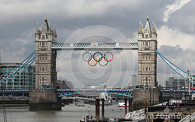 Tower Bridge olympic Rings, London Editorial Stock Image