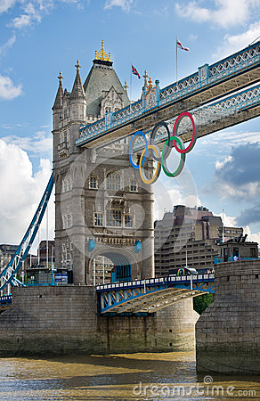 Tower Bridge with Olympic rings in London Editorial Stock Image