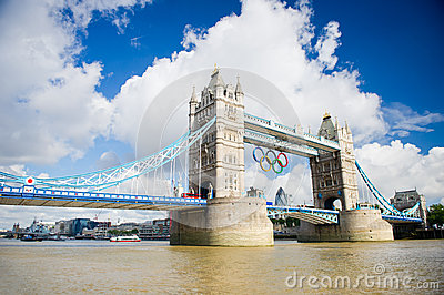 Tower Bridge with Olympic rings in London Editorial Image