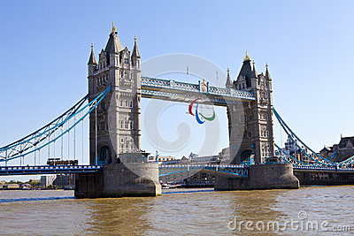 Tower Bridge and the Paralympic Rings Editorial Photography
