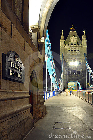 Tower Bridge perspective at night, London, England