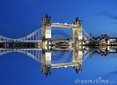 Tower Bridge And Reflection At Twilight-London Stock Photo - Image: 1982760