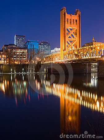 Tower Bridge and Sacramento at night