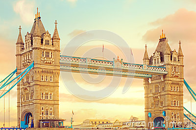 Tower bridge at sunset. Popular landmark in London, UK