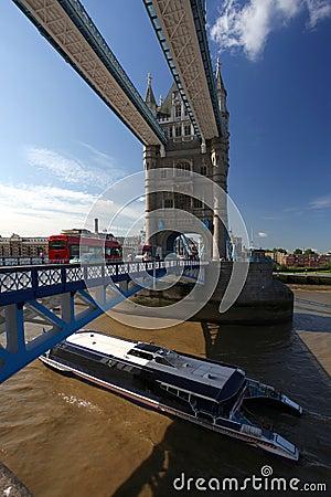Tower Bridge with traffic  ,London