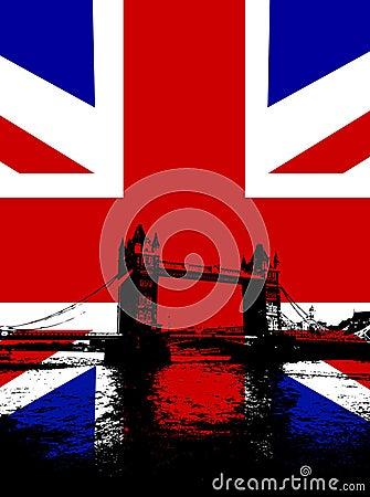 Tower Bridge With UK Flag