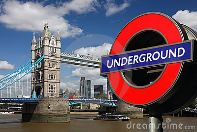 Tower Bridge with Underground Symbol, London Editorial Stock Image