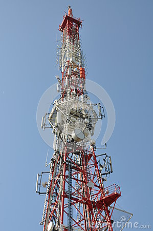 Tower with cell phone and radio antenna
