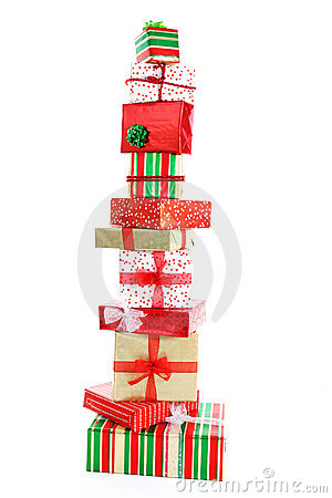 A tower of Christmas gifts