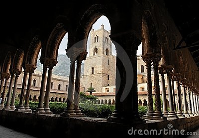 Tower and Columns Cloister of Monreale Cathedral