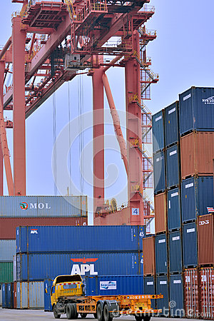 Tower crane in container dock, Xiamen, China Editorial Photography