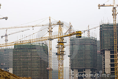 Tower Cranes at Busy construction site