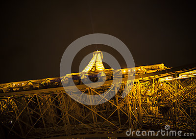 Tower of Eiffel at night in Paris, France Editorial Image
