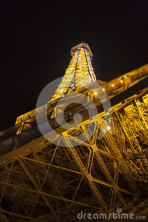 Tower of Eiffel at night in Paris, France Editorial Photo