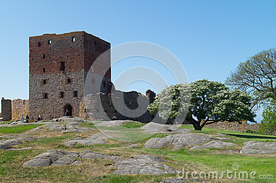 The tower of Hammershus Castle