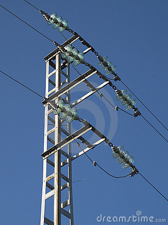 Tower of high-voltage cables with the sky