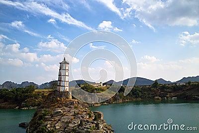 Tower on island in ocean