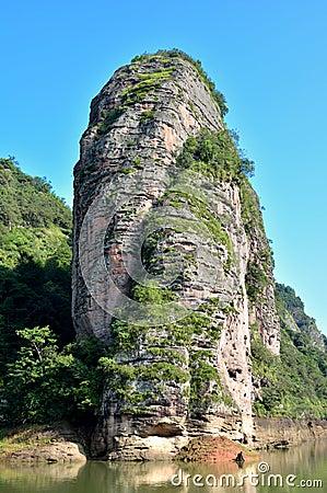 Tower like mountain in lake, Fujian Taining, China