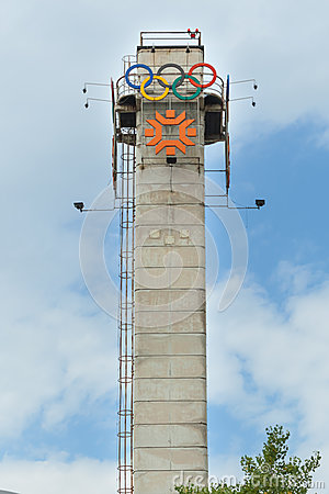Tower with the logo of Olympic Games Editorial Stock Photo