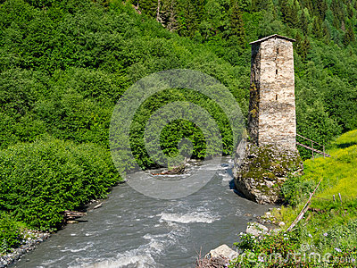 Tower near the river in Svaneti