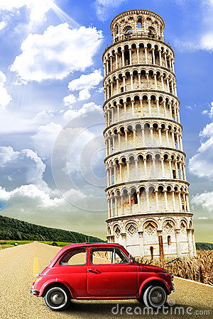Free Tower Of Pisa And The Old Vintage Red Car. Italy Retrò Scene Stock Images - 56187454