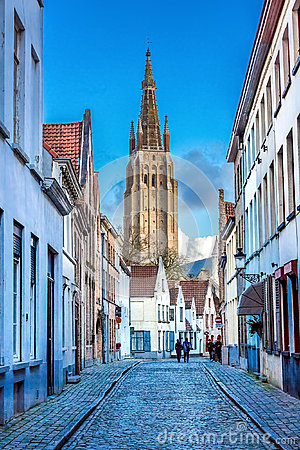 Free Tower Of The Church Of Our Lady Bruges Royalty Free Stock Images - 68351779