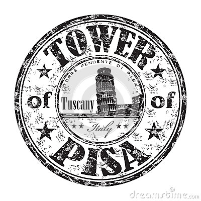 The Tower of Pisa rubber stamp