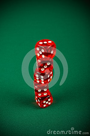 Tower of red dice
