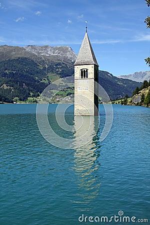 Tower of Resia Lake Church