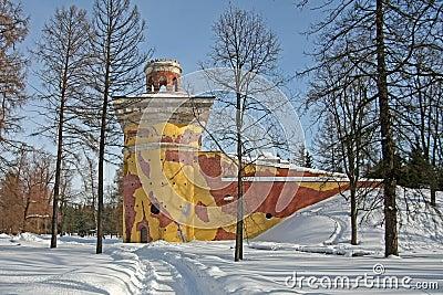 Tower ruins in the park Tsarskoye Selo