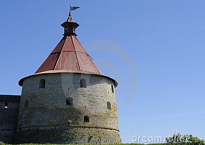 Tower of schlisselburg fortress of sunny day
