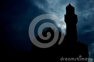 Tower silhouette at night