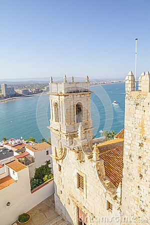 Free Tower, View Of The Peniscola Town Valencia, Spain. Tourism, Span Royalty Free Stock Image - 121876346