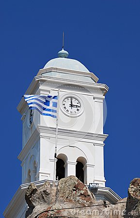 Tower with waving Greek flag