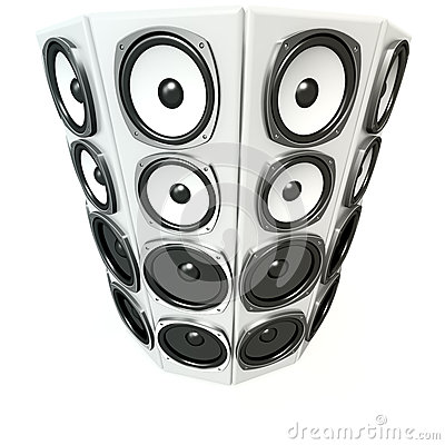 Tower of white sound boxes