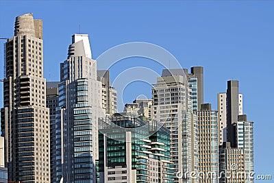 Towering city skyscrapers