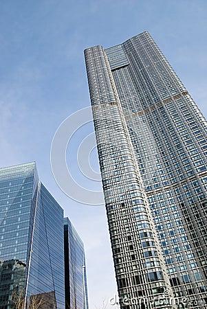 Towering glass buildings