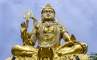 Towering golden statue of Deity Shankar