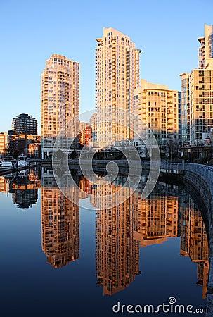 Towers at Dawn, False Creek, Vancouver